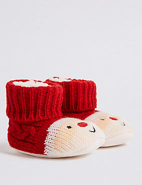 Santa Slipper Booties (0-24 Months)