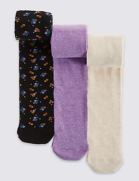 3 Pairs of Freshfeet™ Floral Tights (2-14 Years)