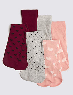 3 Pairs of  Tights (11 Months - 10 Years), PINK MIX, catlanding