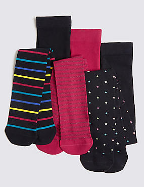 3 Pairs of  Tights (11 Months - 10 Years), BLACK MIX, catlanding