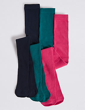 3 Pairs of Cotton Ribbed Tights (18 Months - 14 Years), MULTI, catlanding