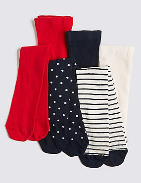 3 Pairs of Tights (18 Months - 14 Years), RED MIX, catlanding