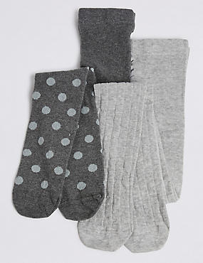 2 Pairs of Cotton Rich Tights (18 Months - 14 Years), GREY MIX, catlanding