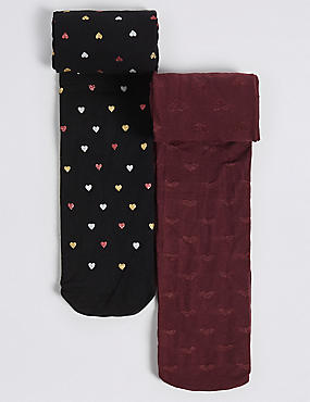 2 Pairs of Mulberry Heart Opaque Tights (4-14 Years)