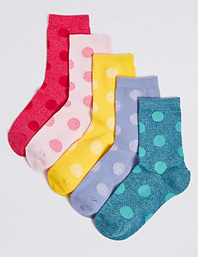 5 Pairs of Cotton Rich Spotted Socks (1-14 Years), BRIGHT PINK, catlanding