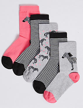 5 Pair of Zebra Ankle Socks (1-14 Years), BRIGHT PINK, catlanding
