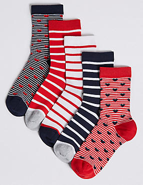 5 Pairs of Cotton Rich Socks (1-14 Years), NAVY, catlanding