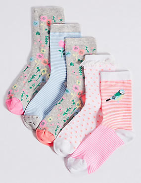 5 Pairs of Cotton Rich Socks (1-14 Years), NEON PINK, catlanding