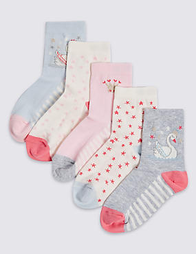 5 Pairs of Cotton Rich Socks (1-6 Years), SOFT PINK, catlanding