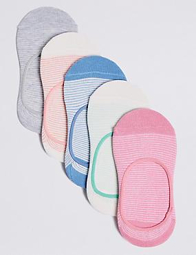 5 Pairs of No Show Socks (3-14 Years), MULTI, catlanding