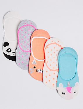 5 Pairs of No Show Animal Socks (3-14 Years), MULTI, catlanding