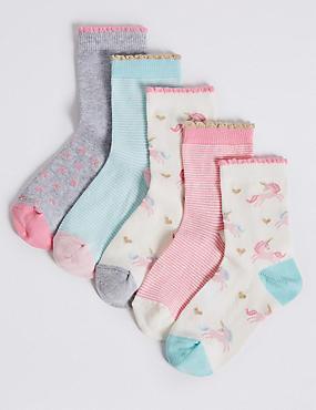 5 Pairs of Socks with Freshfeet™ (1-14 Years), MULTI, catlanding