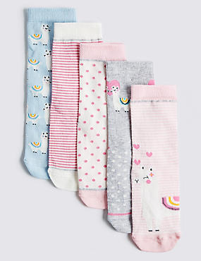 5 Pairs of Llama Socks (1-14 Years), MULTI, catlanding
