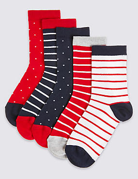 5 Pairs of Spotted & Striped Socks (1-14 Years)