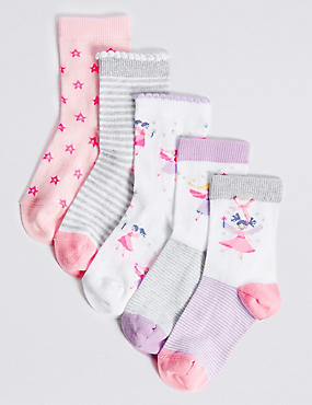 5 Pairs of Freshfeet™ Cotton Rich Socks (1- 6 Years)