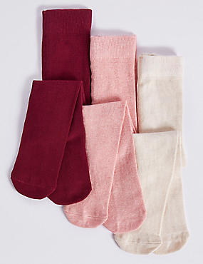 3 Pairs of Tights with StaySoft™ (0-3 Years), MULTI, catlanding