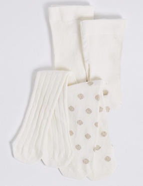 2 Pairs of Baby Tights (0-24 Months), MULTI, catlanding