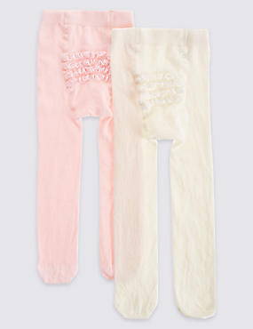 2 Pack Frilly Bum Cotton Rich StaySoft™ Tights (0-24 Months)