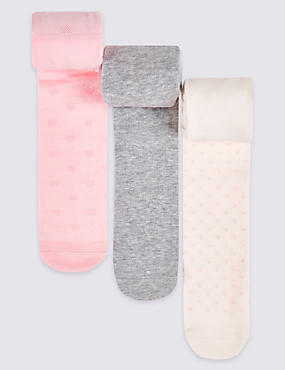 3 Pairs of Cotton Rich Tights (0-24 Months)