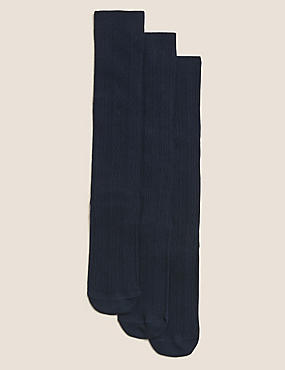 3 Pairs of Cable Knee High Socks (3-14 Years), NAVY, catlanding