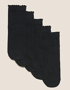 5 Pairs of Cotton Rich Socks (3-14 Years), BLACK, catlanding