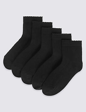5 Pairs of Freshfeet™ Cotton Rich Short Socks (3-14 Years)