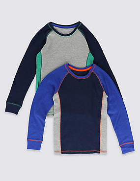 2 Pack Sporty Long Sleeve Thermal Tops (18 Months - 16 Years)