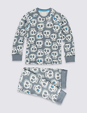 Long Sleeve Skull Print Thermal Set (3 - 16 Years)