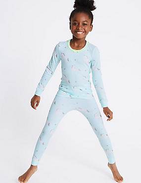 Cotton Blend Unicorn Print Thermal Set (18 Months - 16 Years)