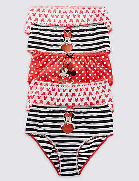 5 Pack Pure Cotton Minnie Mouse Briefs (18 Months - 7 Years)