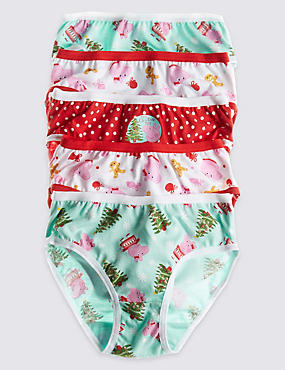 5 Pack Pure Cotton Peppa Pig™ Assorted Briefs (18 Months - 7 Years)