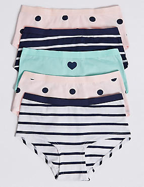 5 Pack Cotton Shorts with Stretch (6-16 Years), MINT MIX, catlanding