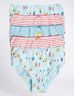 5 Pack Pure Cotton Briefs (18 Months - 12 Years), TEAL MIX, catlanding