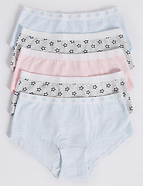 5 Pack Cotton Shorts with Stretch (6 - 6 Years), PINK MIX, catlanding