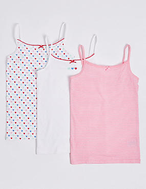 3 Pack Printed Camisole (18 Months - 12 Years), PINK MIX, catlanding
