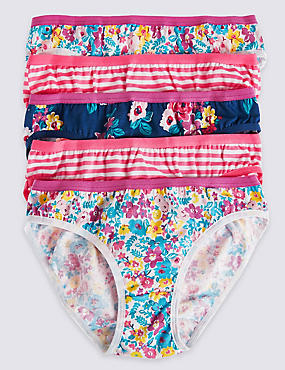 5 Pack Pure Cotton Bikini Knickers (6-16 Years)
