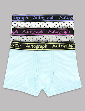 3 Pack Cotton Rich Striped & Diamond Print Trunks (6-16 Years)