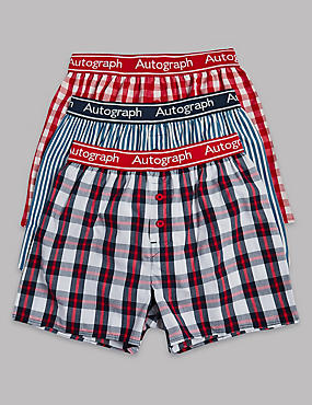 3 Pack Pure Cotton Checked Trunks (6-16 Years)