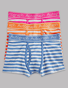 3 Pack Cotton Rich Striped Trunks (6-16 Years)