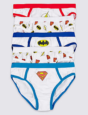 5 Pack Pure Cotton Superheroes Briefs (1-8 Years)