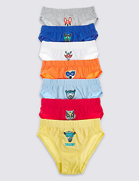 7 Pack Pure Cotton Dow Masked Animals Briefs (18 Months - 7 Years)
