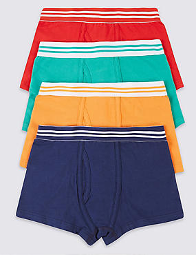 4 Pack Cotton Rich Assorted Trunks (3 - 16 Years)