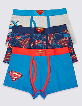 3 Pack Cotton Rich Superman™ Trunks (3-16 Years)