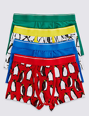 4 Pack Cotton Rich Penguin Trunks (3-16 Years)