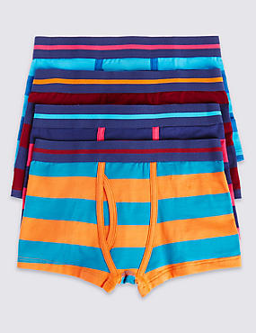 4 Pack Cotton Rich Rugby Striped Assorted Trunks (2-16 Years)