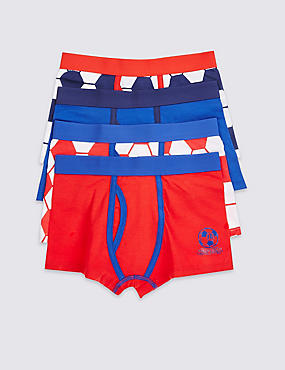 4 Pack Cotton Rich Football Trunks (3-16 Years)