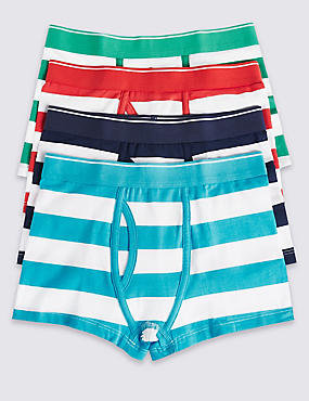 4 Pack Cotton Rich Striped Trunks (2-16 Years)