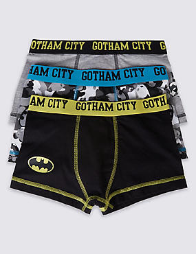 3 Pack Batman™ Cotton Trunks with Stretch (2-16 Years)