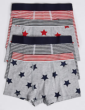 Cotton Trunks with Stretch (18 Months - 16 Years), NAVY/RED, catlanding