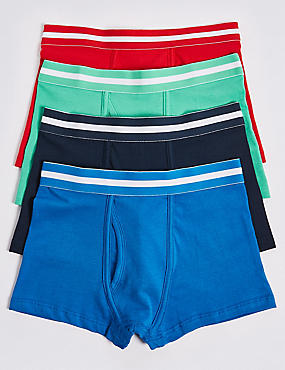 4 Pack Cotton Trunks with Stretch (18 Months - 16 Years), BLUE MIX, catlanding